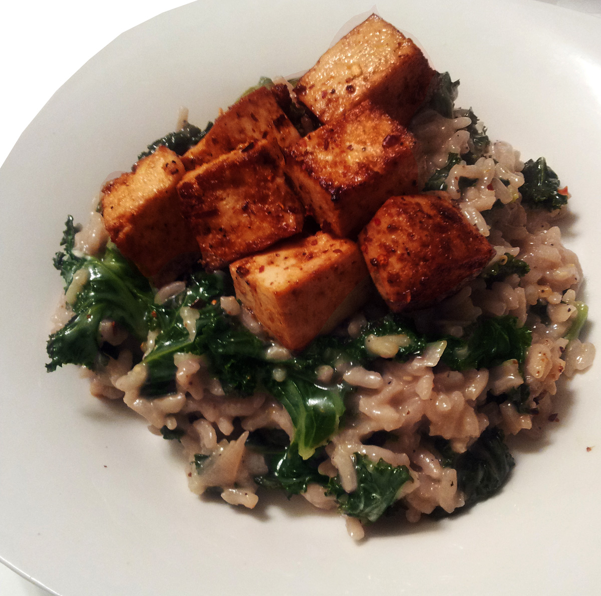 ... Hatred of Meat: Meyer Lemon & Kale Risotto with Garlic Roasted Tofu