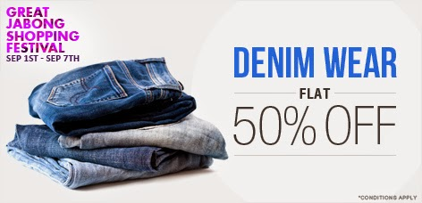 Jabong offer: Flat 50% off on denims + Extra 35 % off with no minimum purchase required