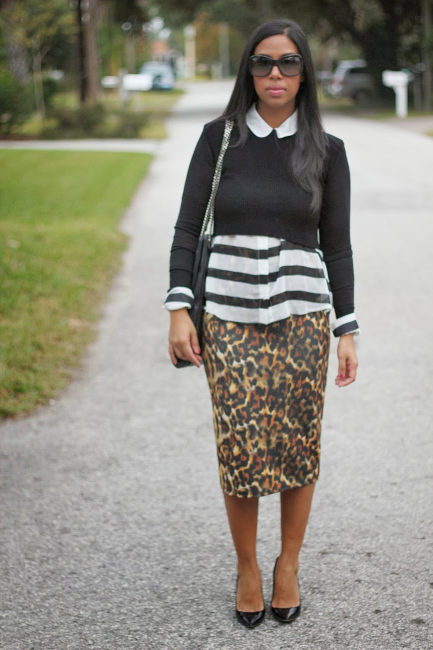 Zara leopard high waist pencil skirt cropped knit sweater jimmy choo pumps black sunglasses marc jacobs