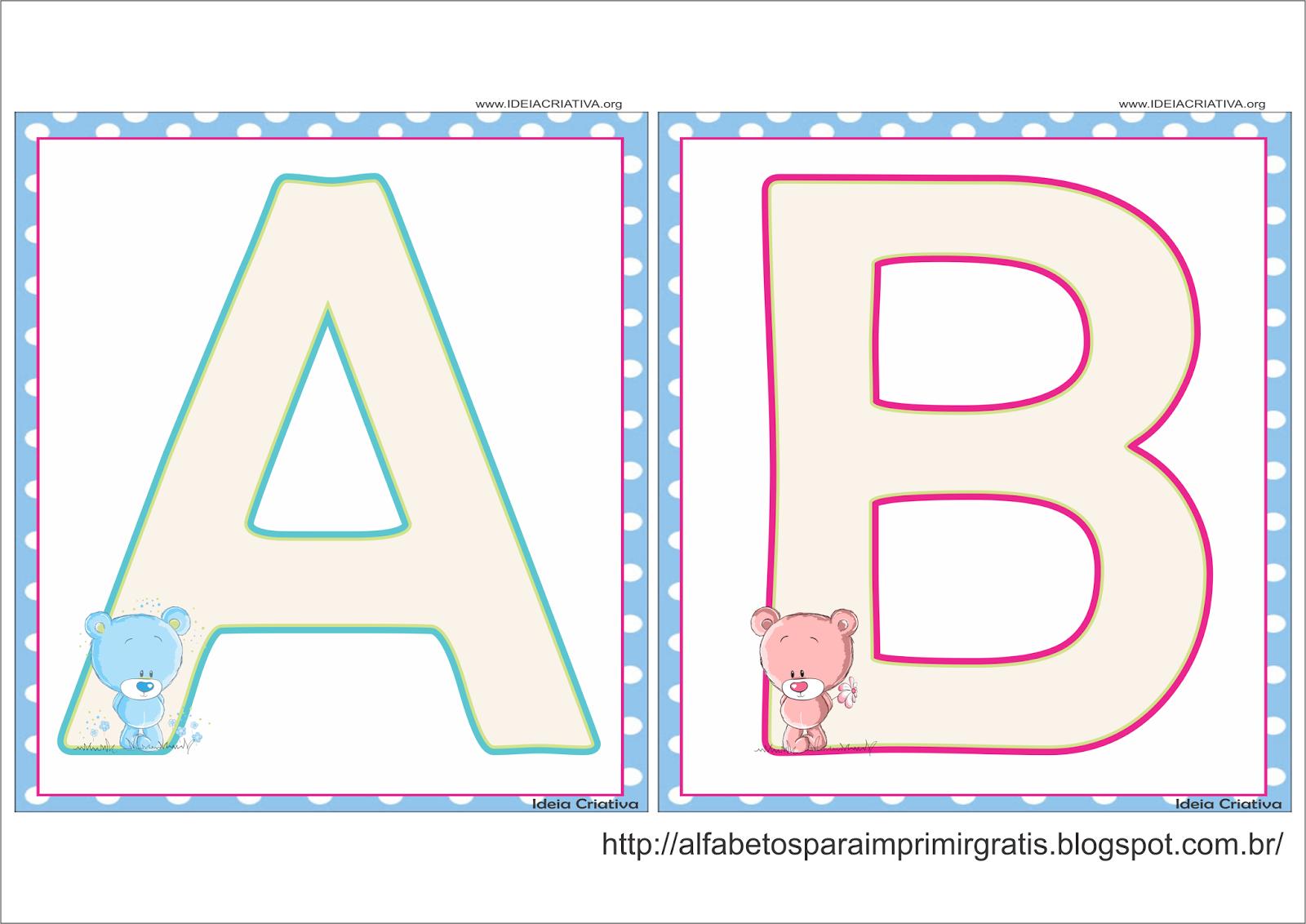 Alfabeto Quadradinho Ursinho e Ursinha