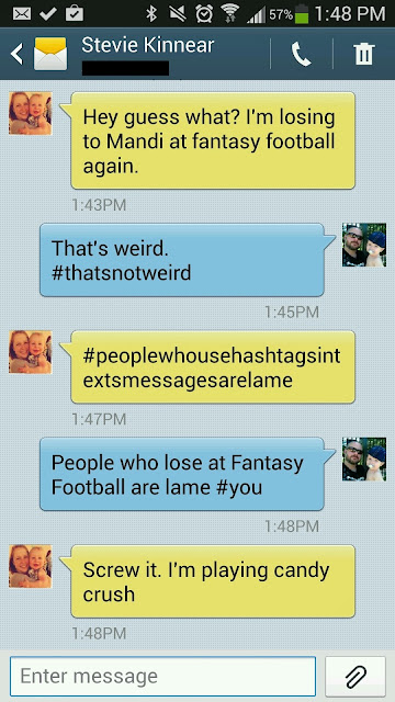 Text message about Fantasy Football #FamilyMobileSaves, #cbias #shop