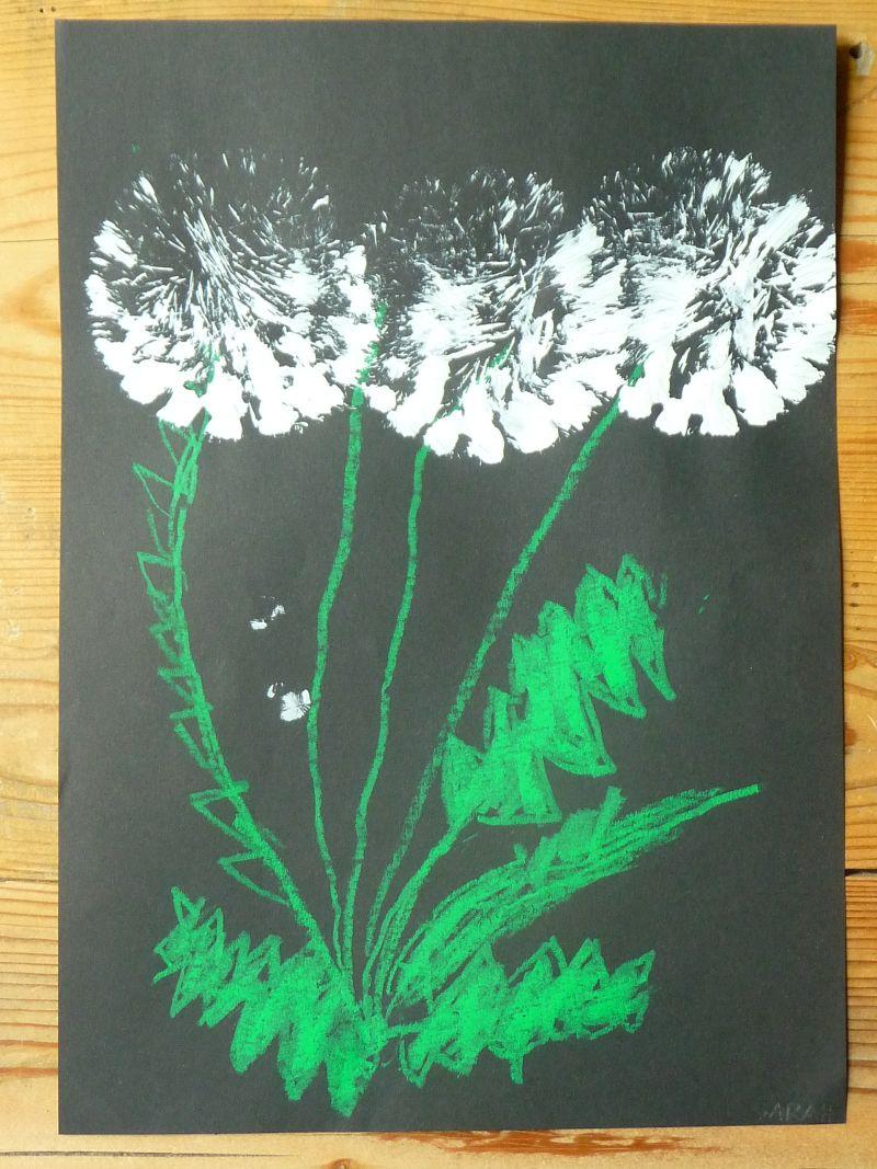 meine gr ne wiese die pusteblume gemalt und gedruckt. Black Bedroom Furniture Sets. Home Design Ideas
