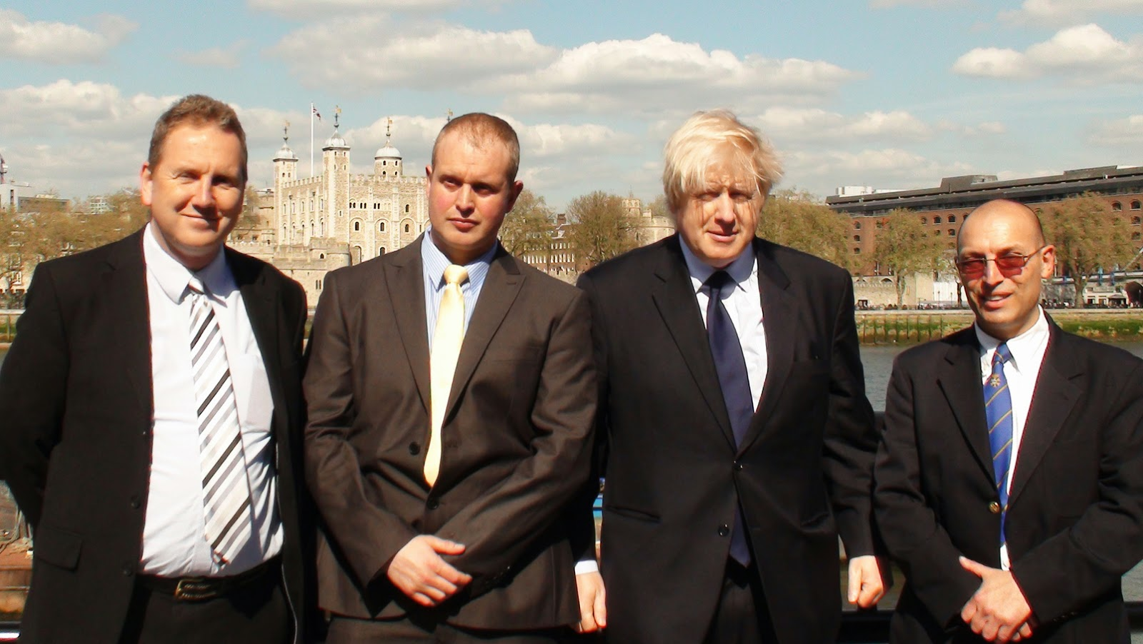 Simon Densley, Stewart Mackay, Boris Johnson and Gino Marotta