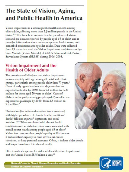 The cover of The State of Vision, Aging, and Public Health in America