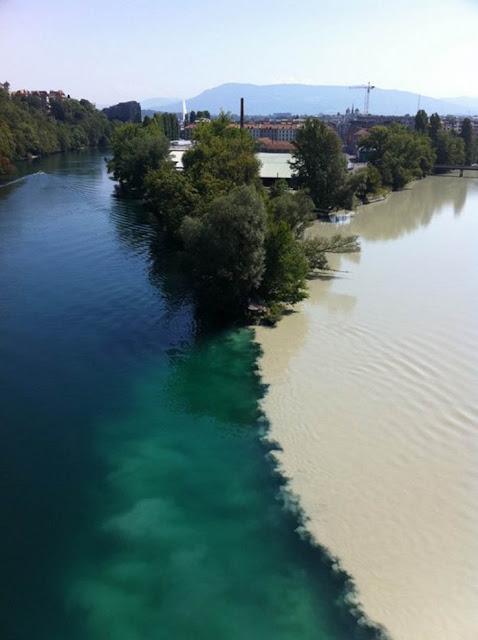 Pertemuan Sungai Rhone dan Arve di Geneva, Switzerland.