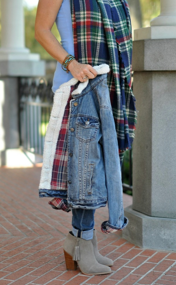 Fall Fashion - ModCloth jean jacket with blanket scarf, jeans and booties