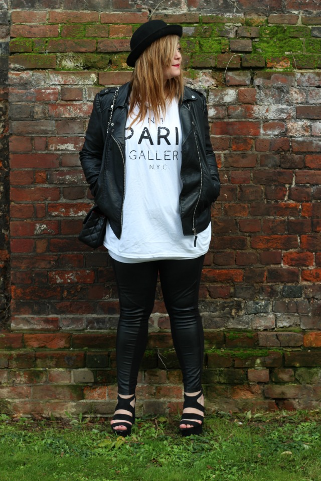 no 1 paris gallery nyc, vest, white, river island, oversized, cutout, topshop, black, rings, leather panelled leggings, H&M, new look, black platform sandals, bowler hat, miss selfridge, leather jacket, chanel quilted black chain bag