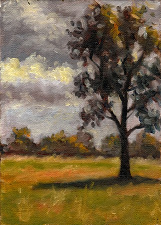 Oil painting of a eucalypt casting a dark shadow in the foreground, with a line of trees on the near horizon and a grey cloudy sky.