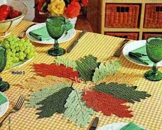 Con i gomitoli di Tommy...: Centro tavola di foglie alluncinetto