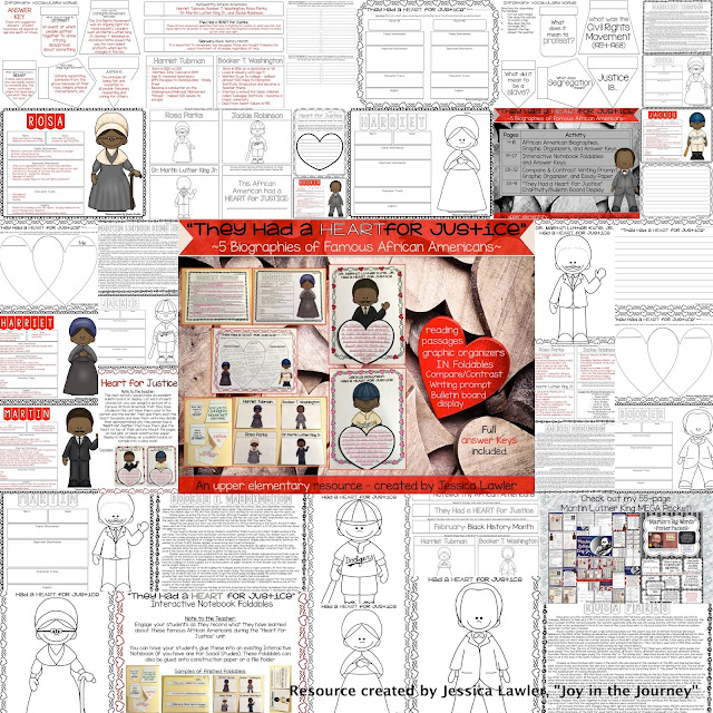 Blog post filled with engaging and interactive Black History Month activities. Challenge your upper elem. students as they read 5 biographies of African Americans who stood up for justice. Packet includes Black History reading comprehension, graphic organizers, and creativity bulletin board display. Full answer keys are included. Resource created by Jessica Lawler.