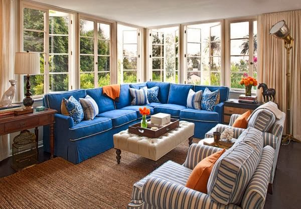 Living room design with color combination blue orange and for Blue and orange room