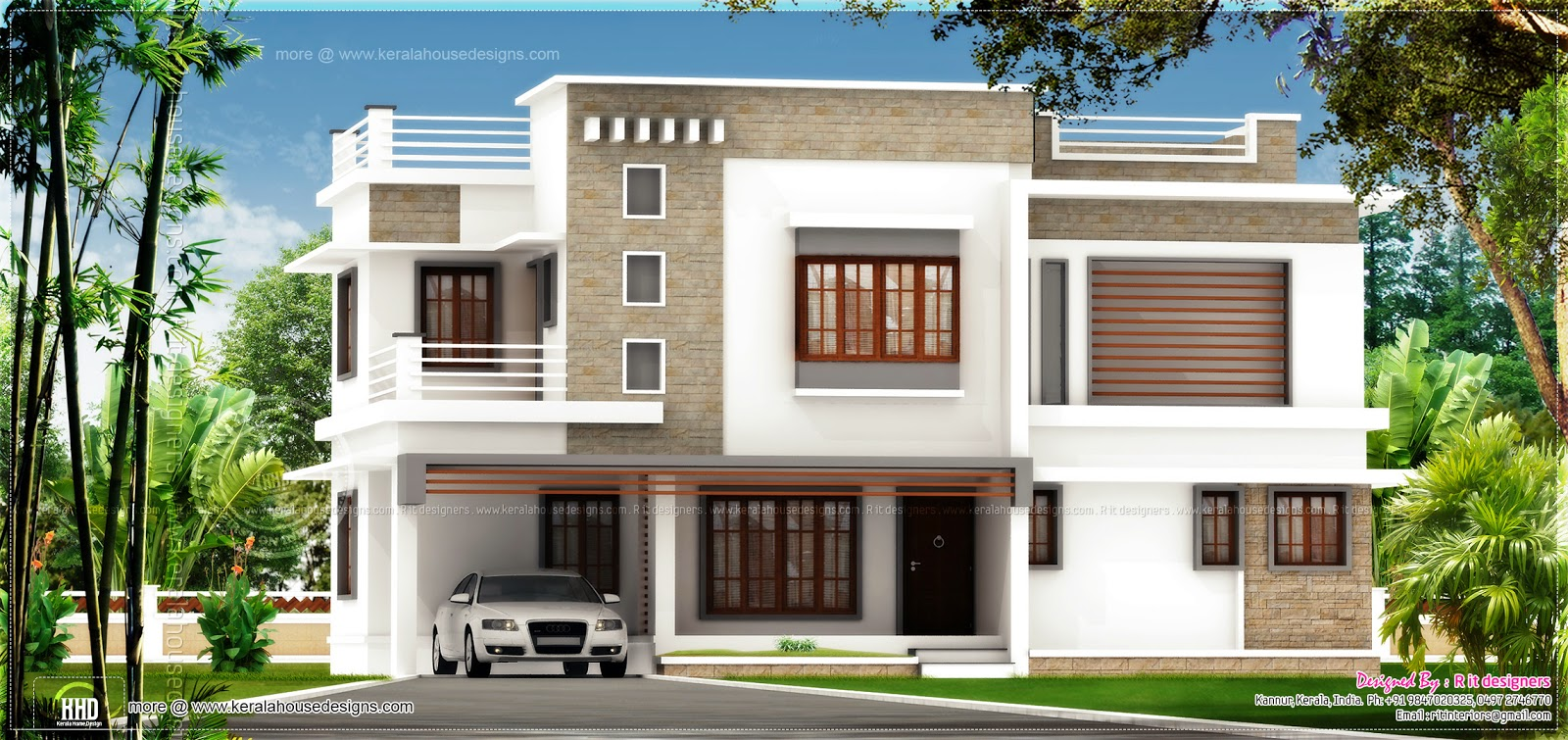 Flat roof house exterior in 1894 square feet kerala home for Exterior design of flats