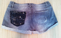 Sequin Pocket Gray Denim Shorts on UpcycleFever
