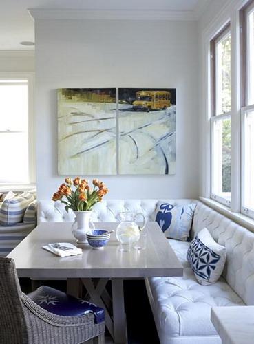 Exotic white and blue kitchen banquette decor picture