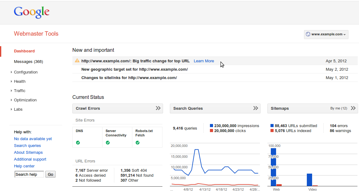 Official Google Webmaster Central Blog: Navigation, Dashboard And Home Page