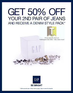 GAP JEANS 50% off 2nd Pair Sale Offer 2012