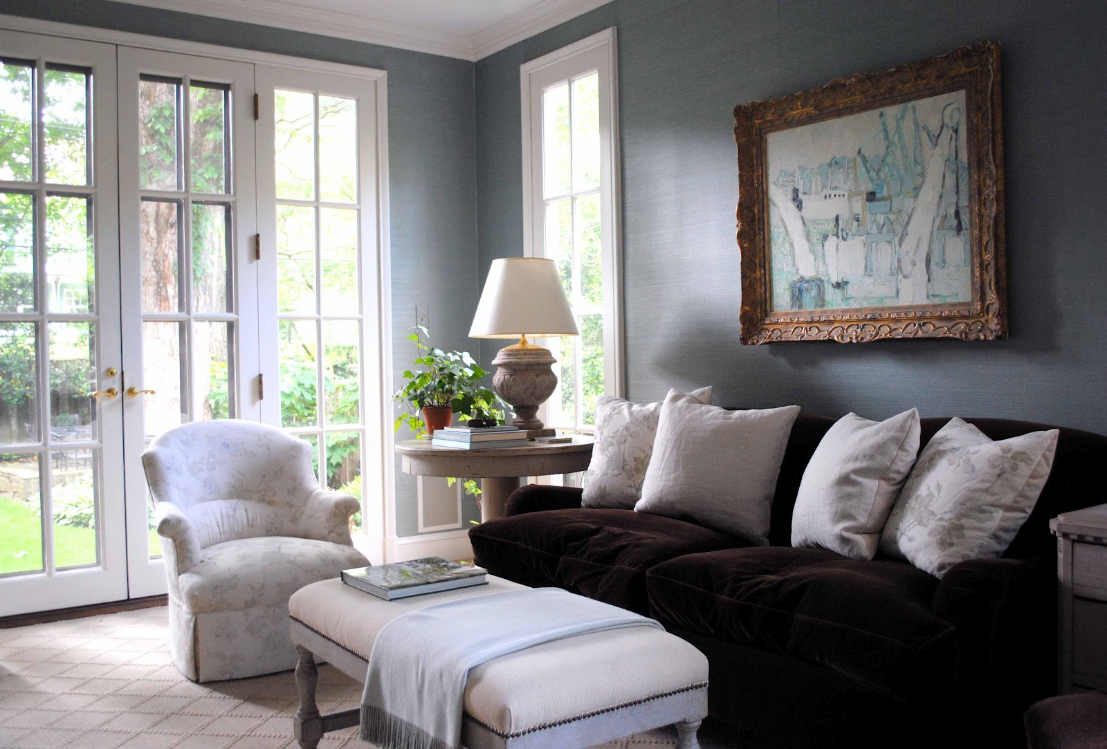 Blue Walls with Brown Couch