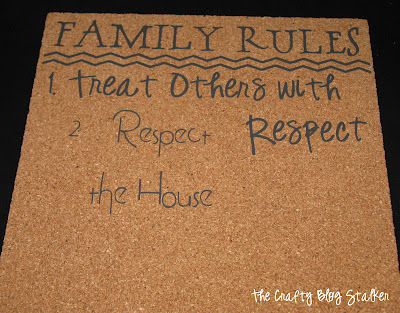 Vinyl Family Rules Cork Board