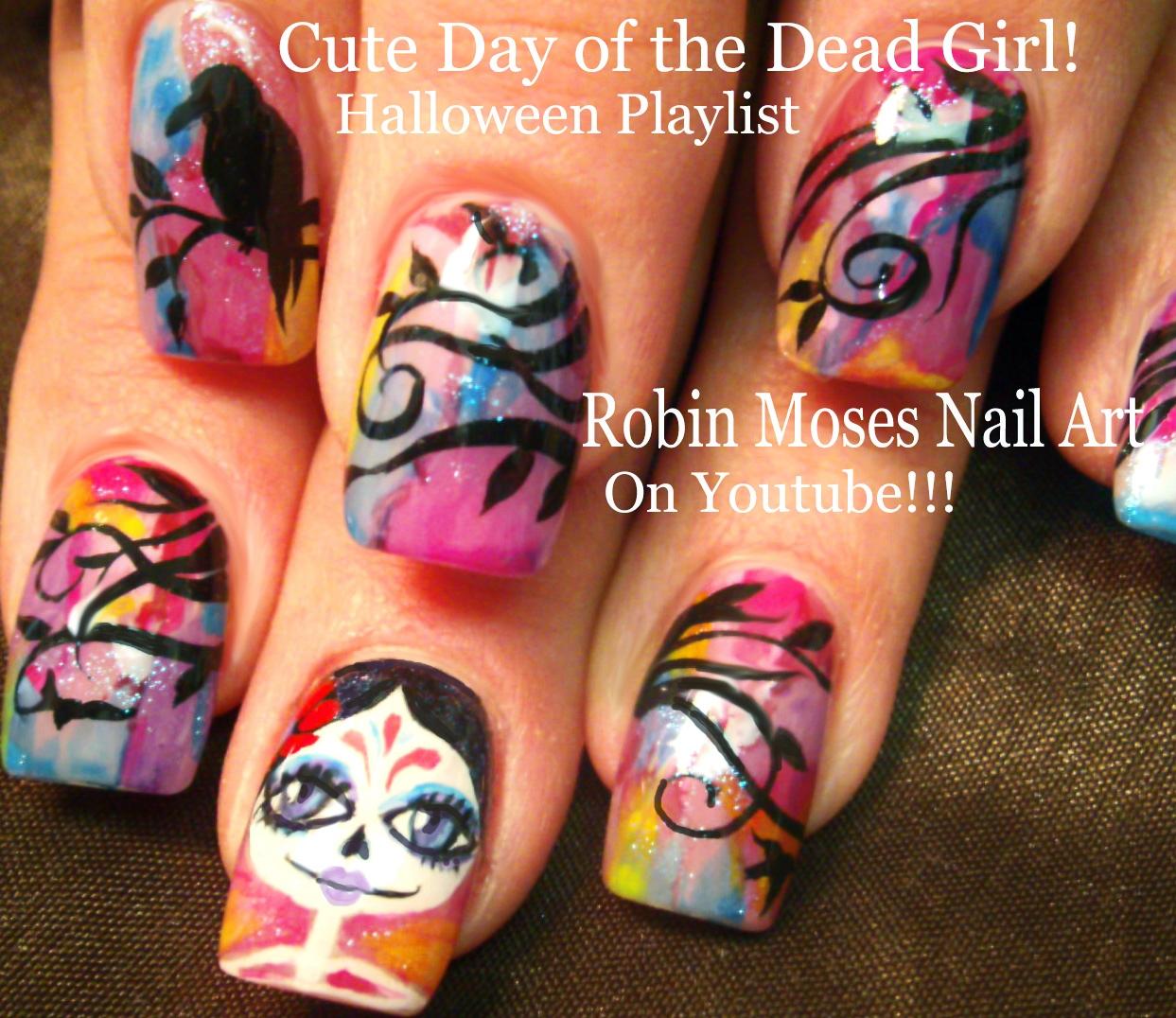 Robin Moses Nail Art February 2015: Robin Moses Nail Art: Cute Halloween Skeleton Nails