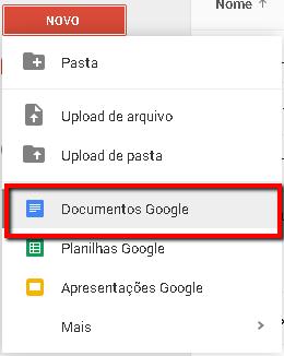 Criando documentos de texto no Google. Passo 1