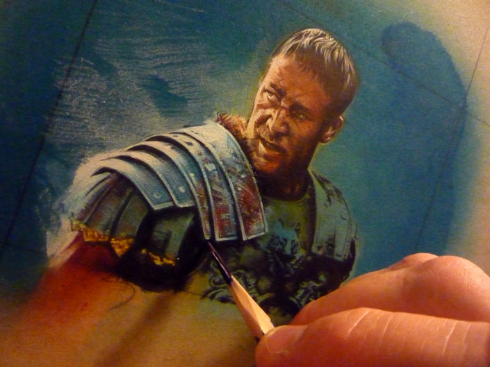 Russell Crowe as Gladiator, original artwork by Jeff Lafferty