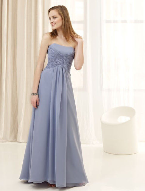 Chiffon Strapless A Line Dress with Rouched Bodice Style