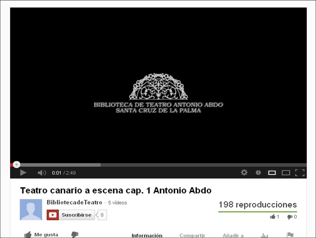 La Biblioteca Municipal de Teatro Antonio Abdo presenta su canal en Youtube