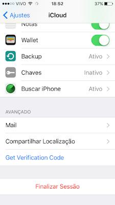 Código de verificação do iCloud