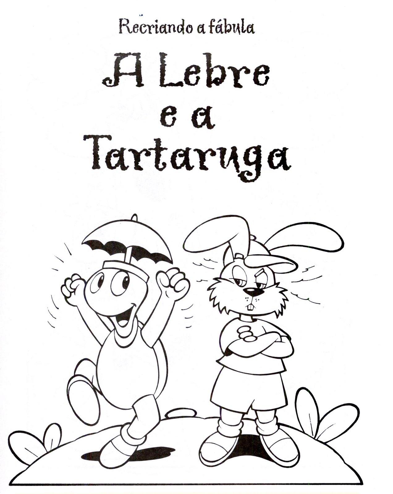Vistoso Página Para Colorear De Tortuga Y La Liebre Imágenes ...