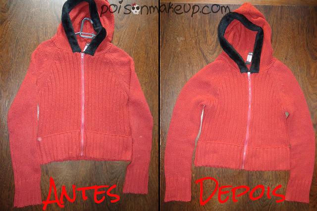Antes e depois da blusa