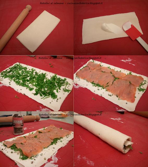 rotolini al salmone affumicato, philadelphia e rucola