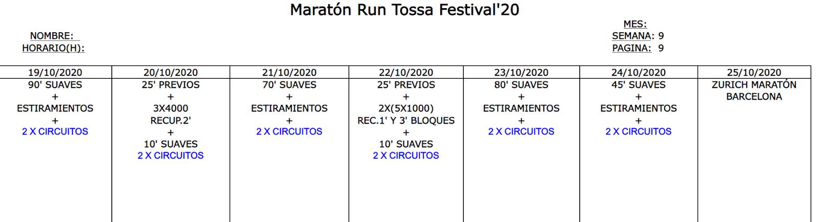 Entreno Maratón Tossa Diciembre 2020
