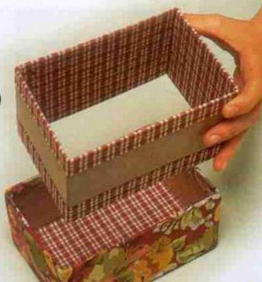 Como hacer un cofre de cart n mimundomanual for Forrar cajas de carton con tela