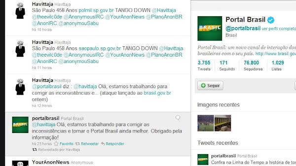 Portal Brasil respondendo um dos integrantes do Anonymous