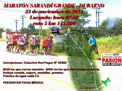 Maratón Sarandí Grande a Durazno (42k individual o posta, 23/nov/2014)