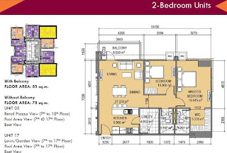 The Lerato Makati Two Bedroom Unit Plan