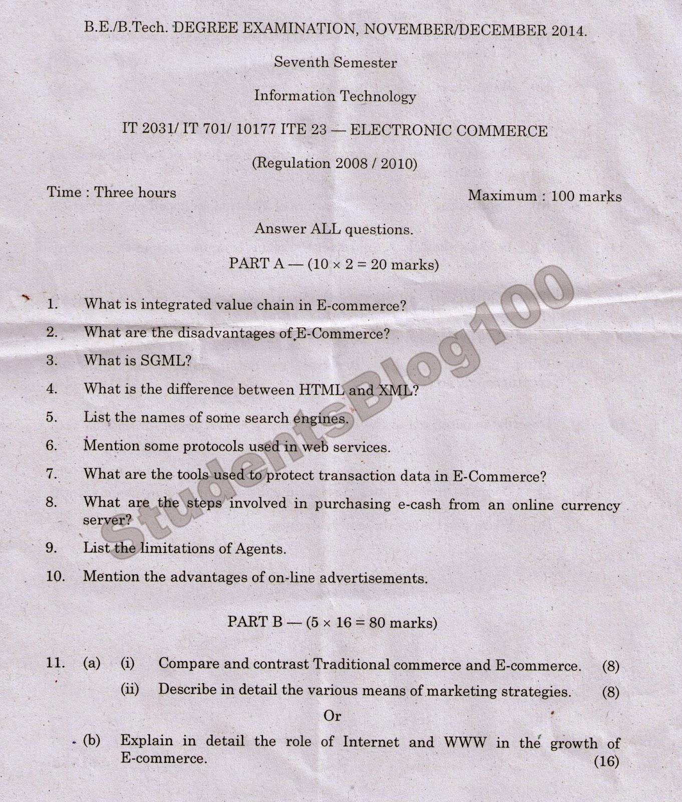ANNA UNIVERSITY IT2031 ELECTRONIC COMMERCE NOV/DEC 2014 QUESTION PAPER