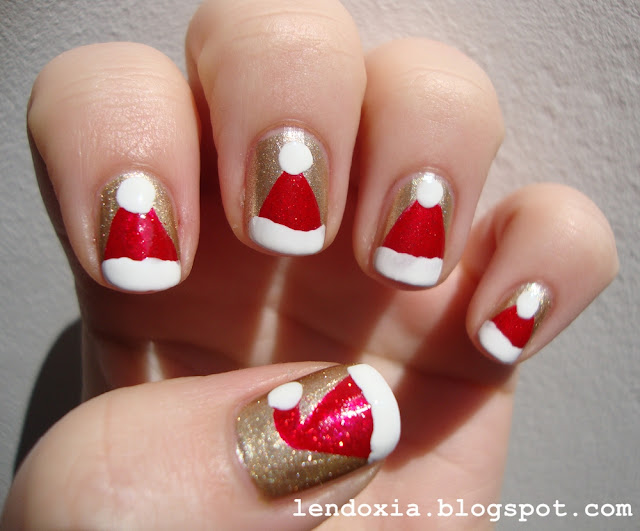 christmas santa hats on nails