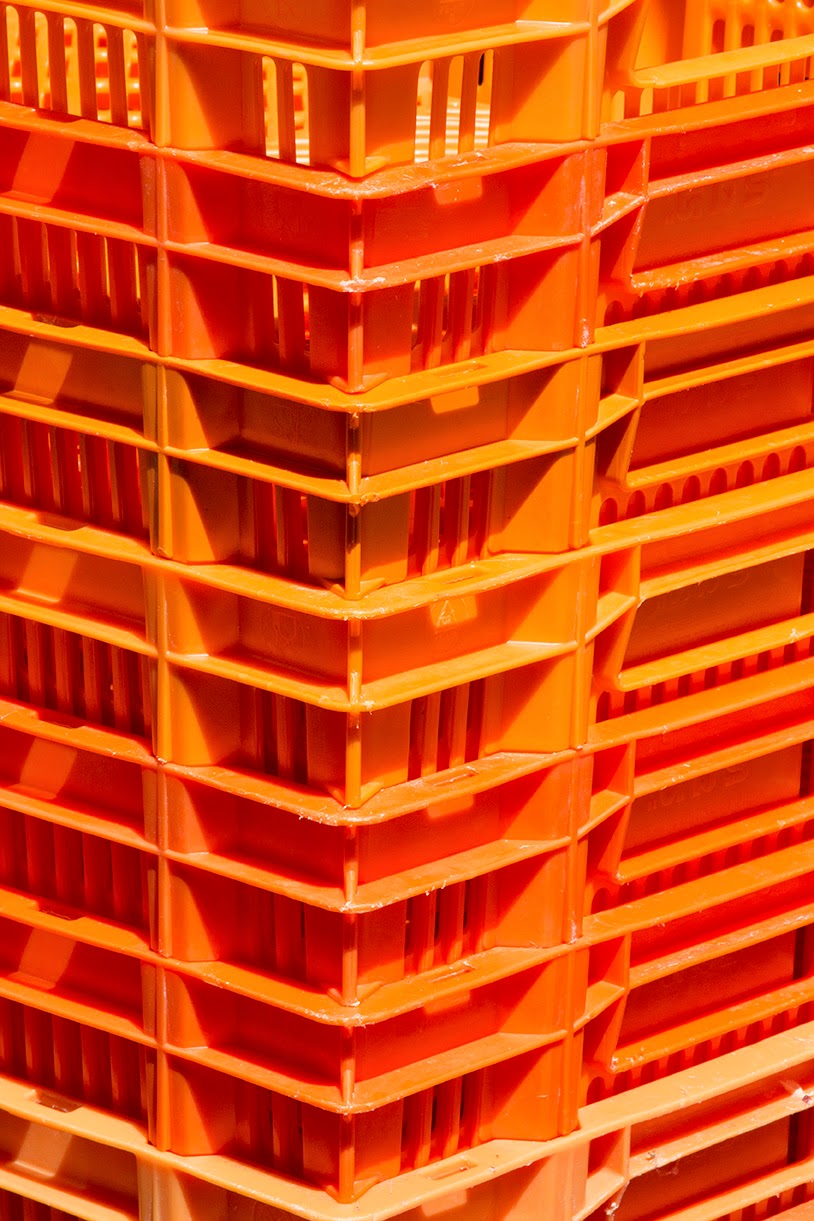 orange crates at the supermarket