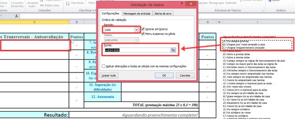 Modelo de ficha de autoavaliação preenchida no Excel