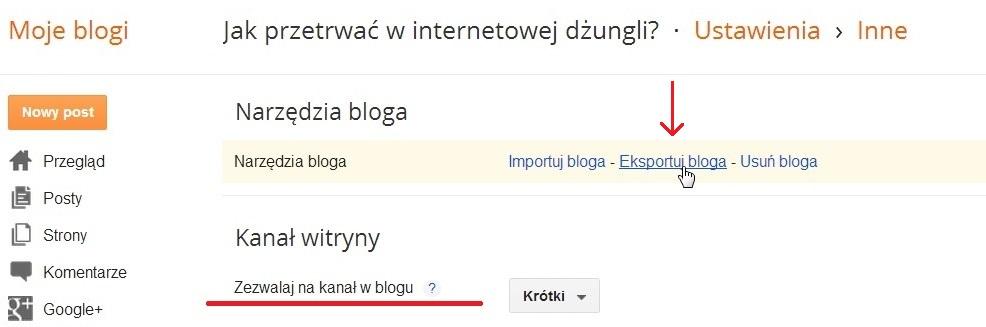 Blogger - eksport bloga