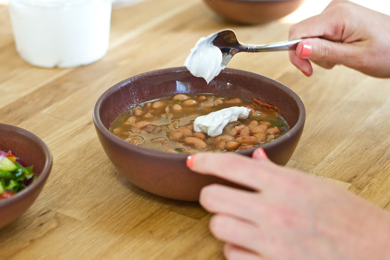 Bon Appétempt: Slow-Simmered Pinto Beans with Crema and Queso Oaxaca