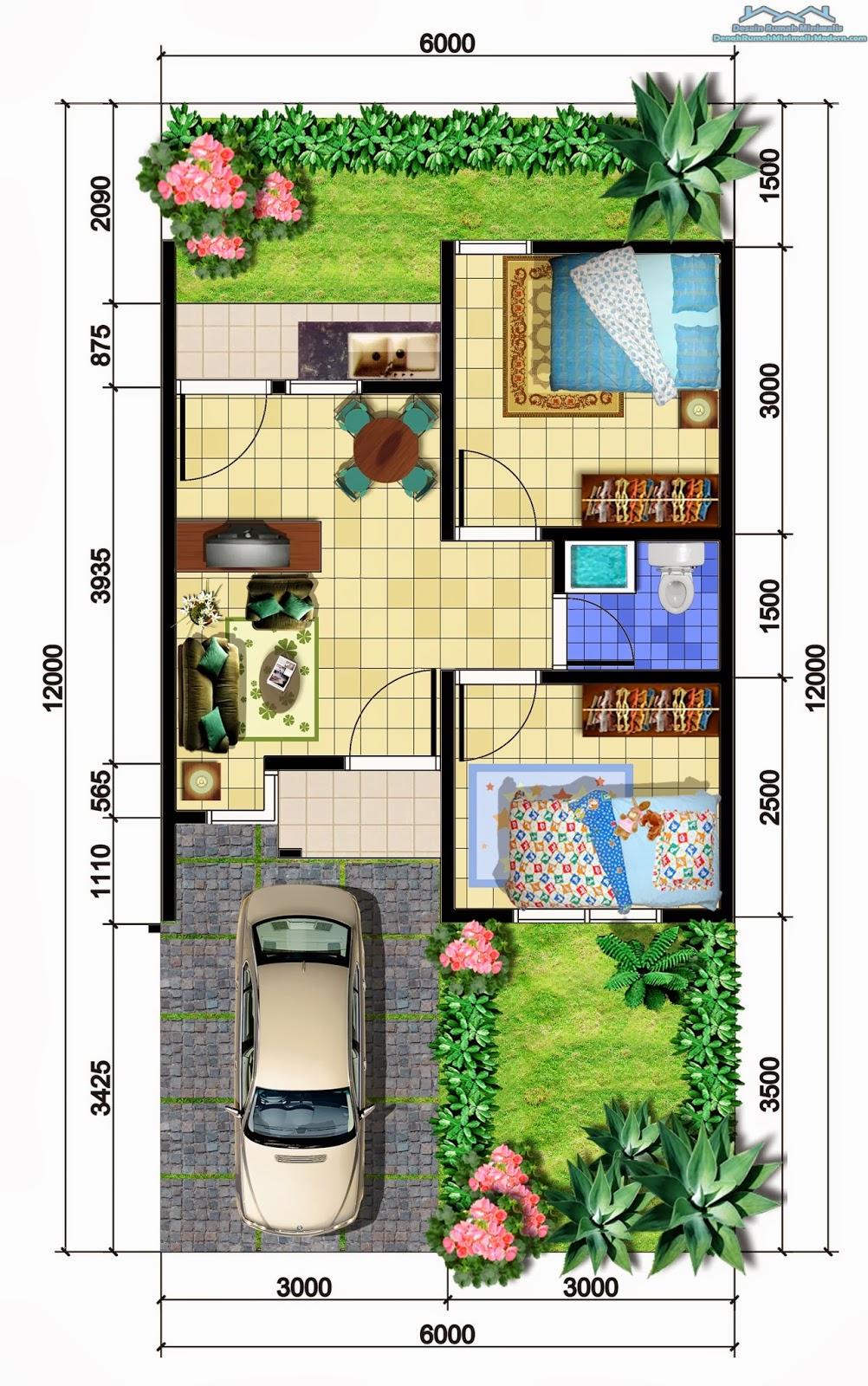 Gambar Desain Denah Rumah Minimalis Modern 1 Lantai
