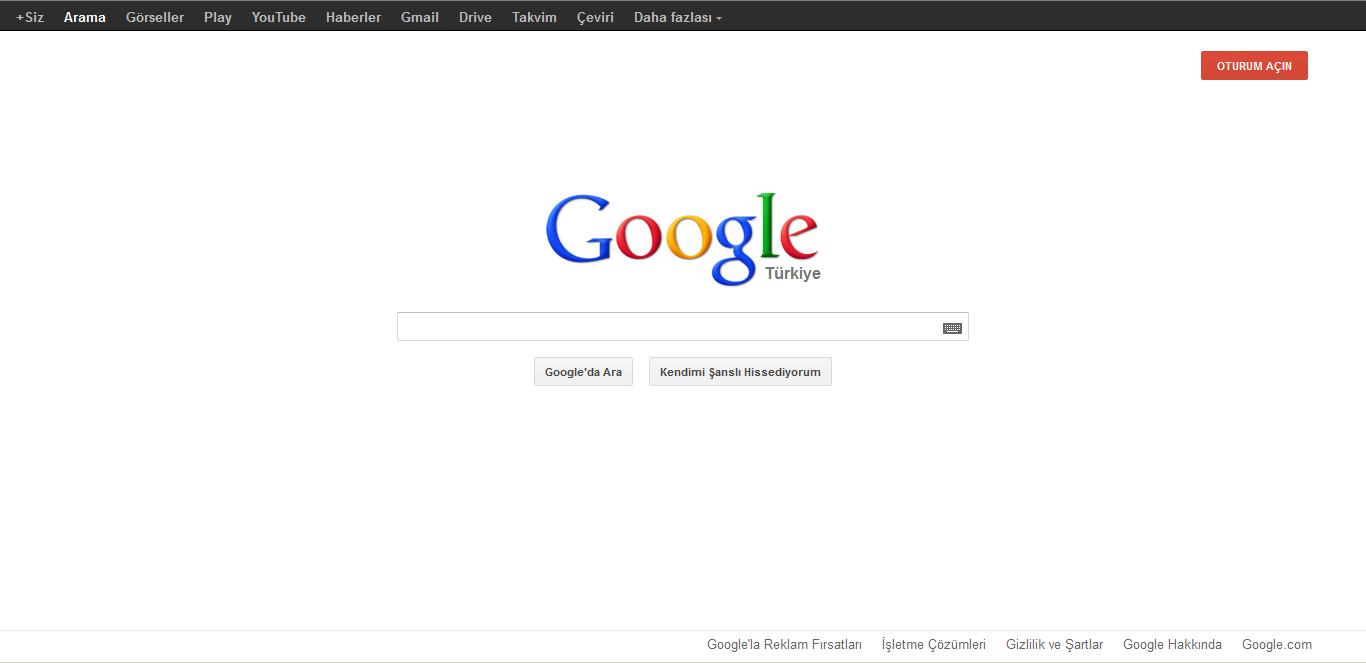 Google Eski Ana Sayfa Tasarımı