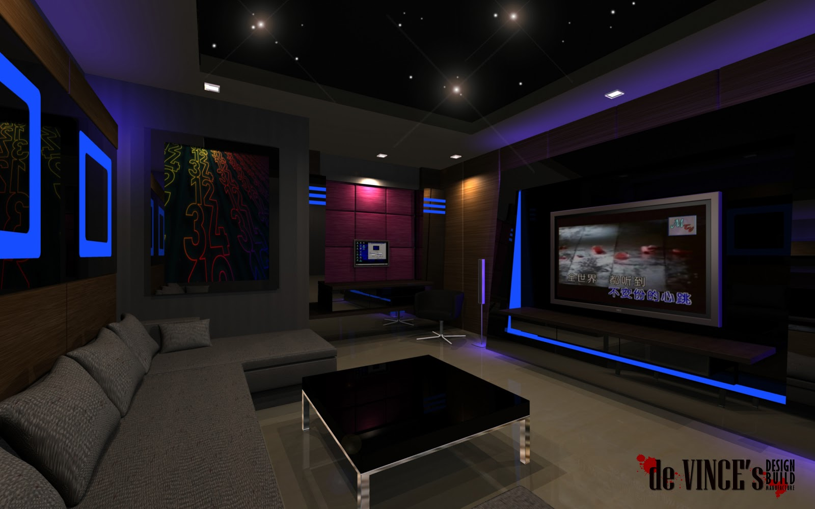 Redsun design inc entertainment room lucky estate for Karaoke room design ideas