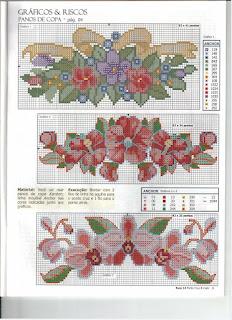 Flores gráficos ponto cruz!