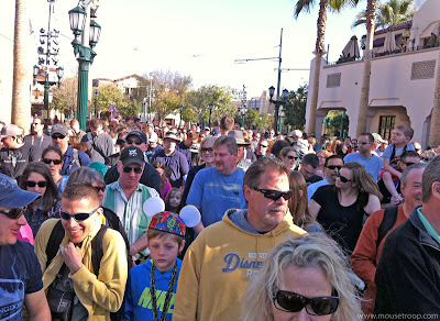 DCA DIsney California Adventure Rope Drop crowd Cars Land