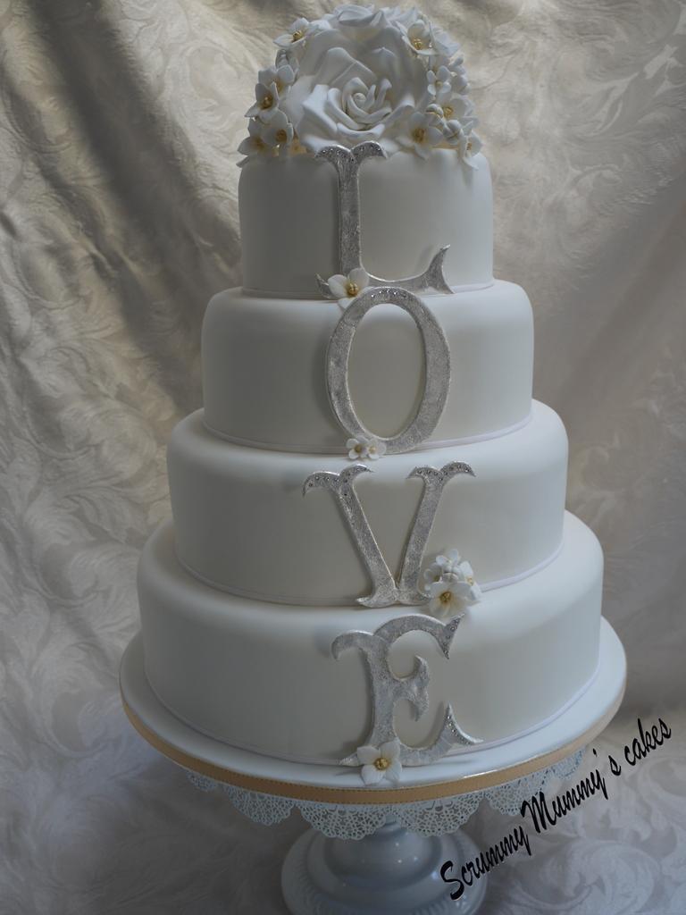 Scrummy Mummys Cakes 4 Tier Monogram LOVE Wedding Cake