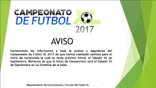 CAMBIO DE FECHA CAMPEONATO DE FUTBOL XL