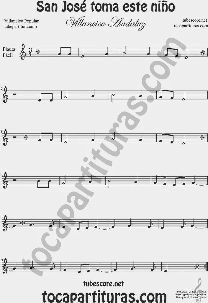 San José toma este niño Partitura de Flauta Travesera, flauta dulce y flauta de pico Villancico Sheet Music for Flute and Recorder Music Scores